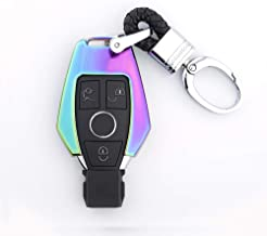 ODOLAND for Mercedes Benz Fob Cover, Smart Remote Key Fob Cover for Mercedes Benz Cover Key,B,C,E,S,GLK300,E260L CLA CLS ML GLA GLK GLC Class Keyless Key Fob Cover(Case + Vintage Style Chain,Colorful)