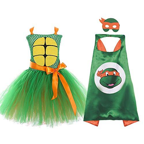 JJAIR Halloween Ninja Turtle Kostüms für Mädchen Geburtstag Role Play Kostüm Layered Tüll-Ballettröckchen-Rock-Prinzessin-Kleid mit Umhang,1,100