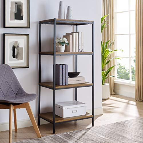 4 Tier Bookshelf by Aaron Furniture Designs Rustic Industrial Bookcase with Modern Open Shelves | Oak Brown Wood Look Accent Furniture Metal Frame | Media Storage Rack Shelf Unit | Living Room