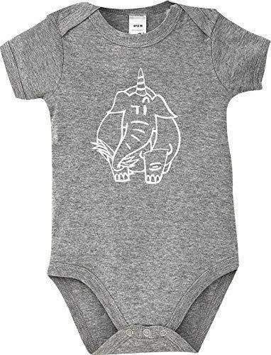 Shirtstown Body Bébé Drôle Animal Einhornelefant,Licorne,Éléphant - Gris, 18-24 Monate