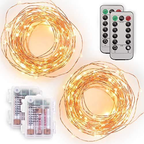 of battery electric strings [2 Pack] Tenergy Battery Operated LED String Lights, Includes 6 AA Batteries, 16.5ft Light String 50 Dimmable LEDs, Remote Control, Outdoor Ready for Christmas decorations, Wedding Decor, UL Certified