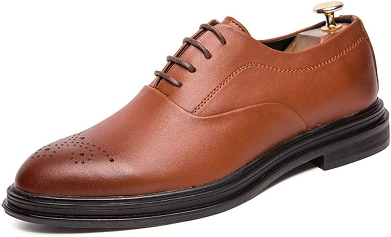 EGS-schuhe Hochzeitsschuhe Flut Schuhe Oxford Herrenschuhe Britische Spitze Brock geschnitzten Stil niedrig, um Business Casual Lederschuhe zu helfen,Grille Schuhe (Farbe   braun, Größe   43 EU)