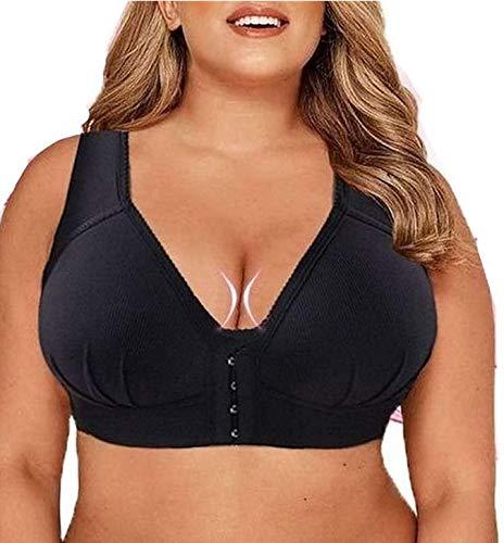 LONEA MASI Bra | Plus Size Front Closure Elastic Push Up Comfort Bra, Sports Bras Sleep Bras for Women, Plus Size Front Closure Bras -Soft & Comfortable, Best Full Coverage Bra (Black, M)