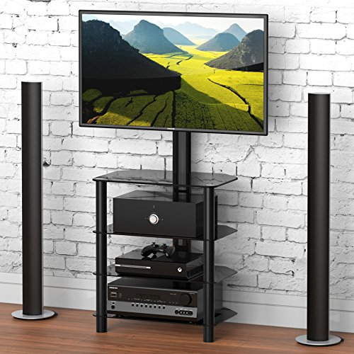 FITUEYES 4-Tiers Corner TV Stand Monitor Stand Base for 32 to 55 inches Height Adjustable Media Storage Stand Tempered Glass Shelves for Media Player TW406001MB