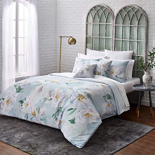 Ted Baker Wilderness 2-Piece Cotton Sateen Duvet Cover Set w/Shams, Flower Design, 68ʺW x 88ʺL, Twin, Blue