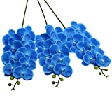 SHACOS Artificial Orchid Stems Set of 3 PU Real Touch Orchid Big Blooms Fake Phalaenopsis Flower Home Wedding Decoration (3 PCS, Blue)
