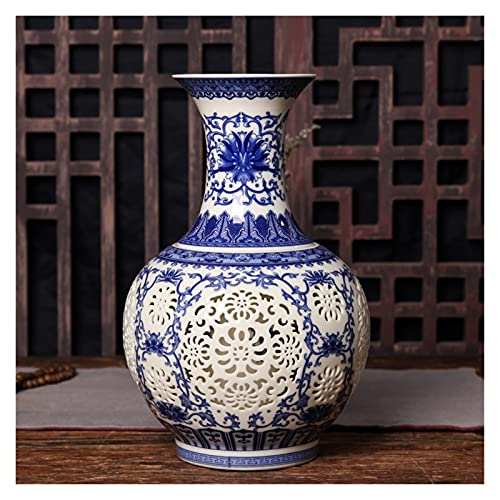 jinyi2016SHOP Maceta Jingdezhen Hueco Cerámica Jarrón Chino Azul y Blanco Pierced Jarrón Salón Decoración de la Sala de Porcelana Florero de Porcelana con Agujero De Drenaje Macetas