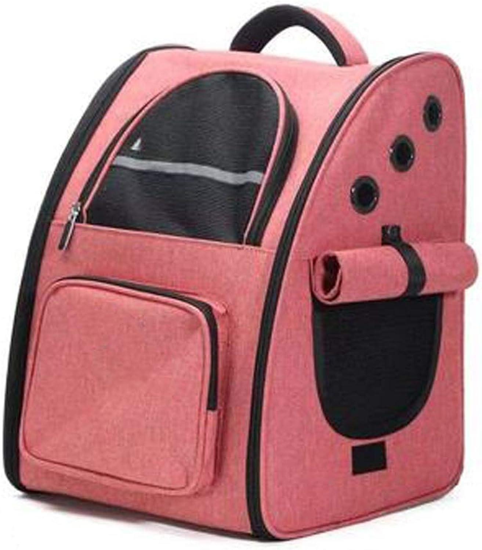 LSLMCS Fashion Pet Bag, Pet Out Bag Portable Pet Bag Cat Bag Puppy Backpack Pet Bag For excursions (color   Pink linen)