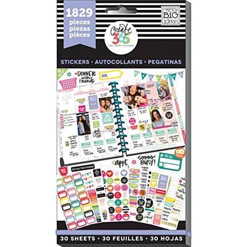 me & my BIG ideas Planner Basics Sticker Value Pack - The Happy Planner Scrapbooking Supplies - Multi-Color & Gold Foil - Great for Projects, Scrapbooks & Albums - 30 Sheets, 1829 Stickers Total