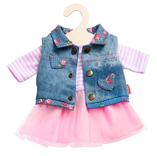 Heless 2550 - Bekleidungsset für Puppen, 2 teilig, Tüllkleid mit Jeansweste, Größe 35 - 45 cm