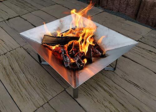 NAMOR© Edelstahl Feuerschale Feuerstelle Feuerkorb Grillschale Lagerfeuer | Handmade in Germany | Schalen-Diagonale: ⧄ 67 cm