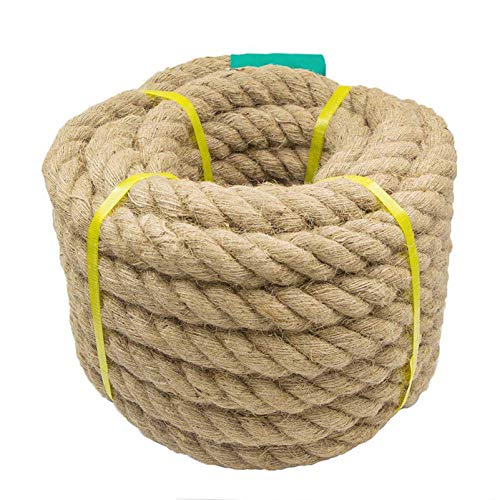 Aoneky Jute Rope - 1.18/1.5 Inch Twisted Hemp Rope for Crafts, Climbing, Anchor, Hammock, Nautical, Cat Scratching Post, Tug of War, Decorate (1 1/5 inch x 96 Feet)