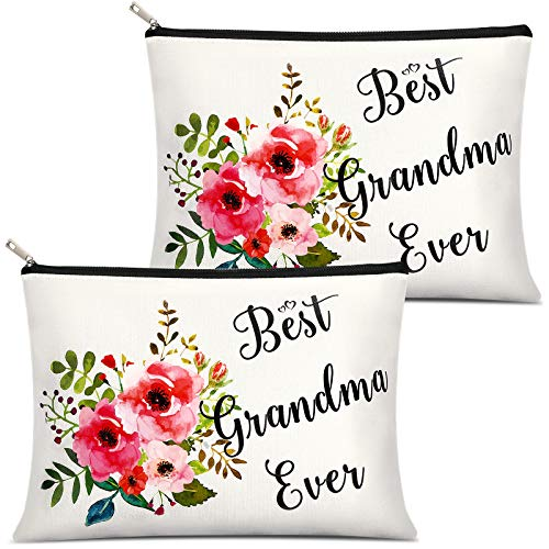 2 Pieces Grandma Presents Best Grandma Ever Makeup Bag, Portable Travel Cosmetic Pouch for Mother's Day, Birthday Christmas Presents for Grandmother, Nana Present from Granddaughter