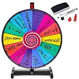 COSTWAY 18/24 Pollici Gioco Ruota della Fortuna da Terra&Tavolo, Wheel of Fortune con Marcatore e Cancellatore, 14 Slots, per Carnevale e Feste (18 Pollici)