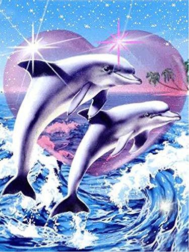 DIY 5D Kit de pintura de diamante Taladro completo Animal delfín Mosaico Diamante de imitación Punto de cruz Adultos Diamante redondo Artes Decoración del hogar 40X50Cm