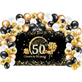 Kauayurk 50th Birthday Banner Backdrop with Balloon Garland Arch Decorations - Gold Extra Large Cheers to 50 Years Birthday Party Photo Booth Background and Balloon Garland Supplies