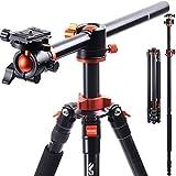K&F Concept Trepied Appareil Photo 230cm Monopode Trépied Reflex Pied Caméra Vidéo avec Bras Déporté en Aluminium 4 Sections Charge Max: 10 kg SA254T1