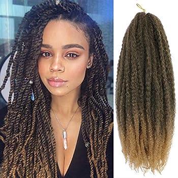 6 Packs Marley Hair Marley Braiding Hair Marley Braid Crochet Hair Long Afro Kinky Curly Hair For Faux Locs or twist Synthetic Fiber Hair Extensions (18 inch T27)