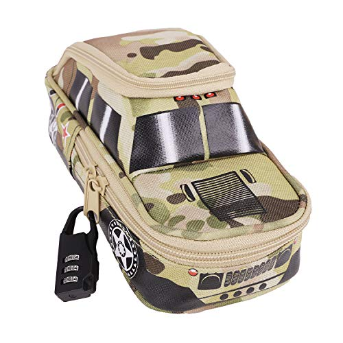 Kinder Federmäppchen Super Kapazität Camouflage Federtasche Bleistift Box als Geschenken SUV Auto Modell mit Zahlenschloss Kreativ Briefpapier Pouch Stifteetui Mäppchen für Jungen Mädchen