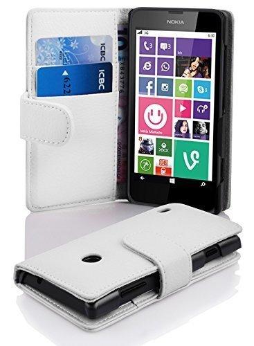 Cadorabo Hülle für Nokia Lumia 630/635 - Hülle in Magnesium WEIß – Handyhülle mit Kartenfach aus struktriertem Kunstleder - Hülle Cover Schutzhülle Etui Tasche Book Klapp Style