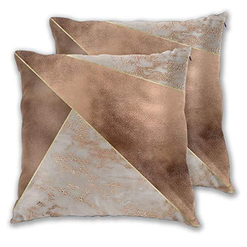 Juego de 2 fundas de almohada cuadradas, papel de cobre y rubor, triángulos de mármol de oro rosa, decoración para el hogar, fundas de cojín suaves para dormitorio, sofá, sala de estar, 45,7 x 45,7 cm