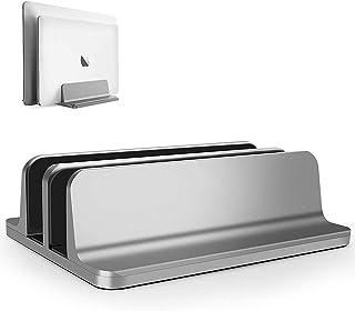 ノートパソコン スタンド PCスタンド 縦置き 2台収納 ホルダー幅調整可能 アルミ合金素材 Vertical Laptop Double Stand for MacBook Pro Air Mini Clamshell Mode & All ...