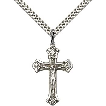 """.925 Sterling Silver Cross Crucifix Pendant /& Curb Cuban Link Chain Necklace 24/"""""""