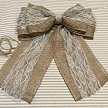 "12"" Wide Burlap and Lace Tulle Pew Bow Chair Decor Wedding Venue Ribbon Seating Reception"
