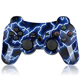 Mando PS3 Inalámbrico Gamepad Bluetooth PS3 Controller Joystick con Doble Vibración SIX-AXIS para PlayStation 3 / PC (Relámpago Azul)