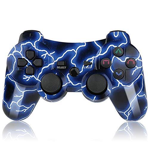 Mando PS3 Inalámbrico Gamepad Bluetooth PS3 Controller Joystick con Doble Vibración SIX-AXIS para PlayStation 3 / PC (Relámpago Azul)