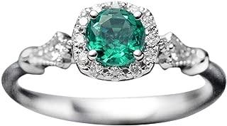 Women's Vintage Emerald Gemstone Zircon Inlay Ring Engagement Ring Gift Jewelry