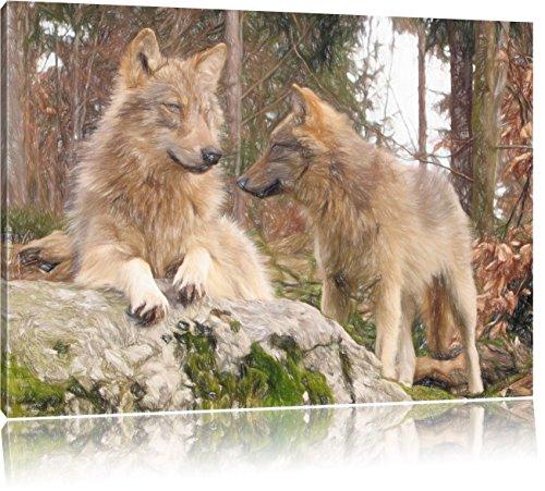 Pixxprint Wölfe im Wald / 100x70cm Leinwandbild bespannt auf Holzrahmen/Wandbild Kunstdruck Dekoration