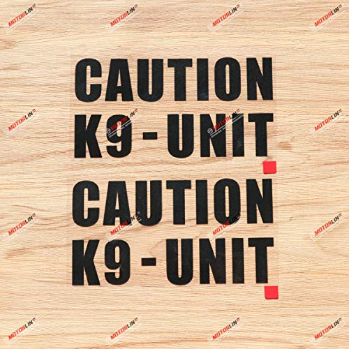 Caution K9-Unit K-9 Police Dog Warning Decal Sticker Vinyl - 2 Pack Black, 6 Inches - for Car Truck Door Window