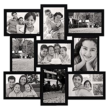 Adeco 9-Opening Decorative Wood Collage Basket-Weave Wall Hanging Picture Frame, 4 by 6-Inch, Black