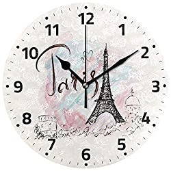 Wamika Eiffel Tower Romantic France Paris Round Wall Clock,9.5 Inch Battery Operated Quartz Analog Quiet Desk Clock for School,Office,Home