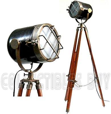 Retro Look Antique Marine Ship Searchlight Nautical Floor Lamp Double Tone Finish Brown Tripod