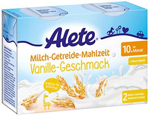 Alete Milch-Getreide-Mahlzeit Vanille-Geschmack, praktisch für zuhause & unterwegs, mit viel Calcium, Vitamin C & Zink, ohne Palmöl, ab dem 10. Monat, 400 ml