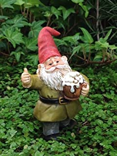 Statue Out Cheers Gnome Drinking Beer Pick - Fairy Garden Miniature