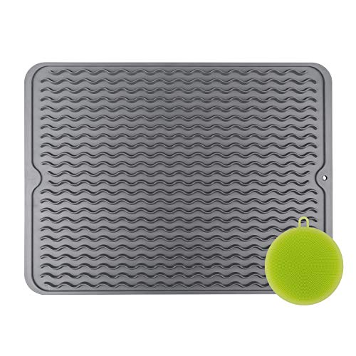 Non-Slip Silicone Dish Drying Mat, Dry Dishes Fast, Dishwasher Safe, Heat Resistant, Compact Storage, 15.8 X 12', Trivet with a bonus scrubber