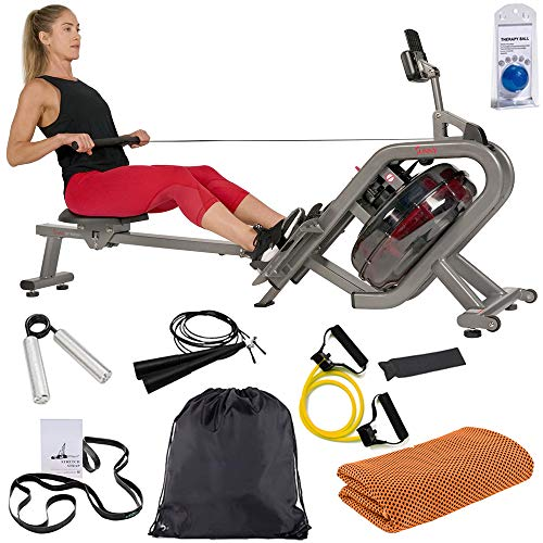 Sunny Health and Fitness SF-RW5910 Phantom Hydro Water Rowing Machine Ergometer Bundle with Deco Gear Home Gym 7-Piece Fitness Kit and Workout Cooling Sport Towel