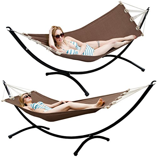 AMANKA Hammock with Stand - 300x100 Garden Lounger - Outdoor Indoor Hanging Swing with Metal Frame
