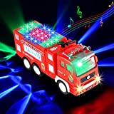 Xruison Camion Pompieri Giocattolo con 4D LED Luci e Suoni, Grande Camioncino Giocattolo Autopompa Giochi, Auto per Camion Vigili del Fuoco Macchinine Regalo per Bambini Ragazzi Ragazze 3 4 5 6
