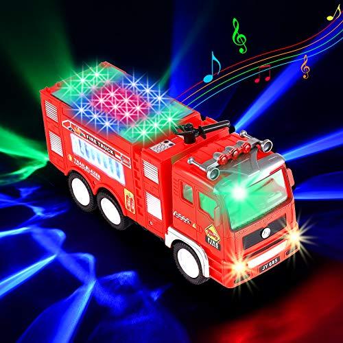 Xruison Camión de Bomberos Eléctrico Juguete, Grande Coche de Bomberos Vehiculo con...