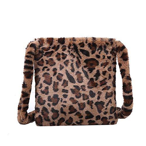 HAIWILL Schultertaschen Damen Leopard Umhängetasche Flauschige Plüsch Kleine Crossbody Retro Mode Tasche für Mädchen (Braun)