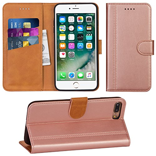 Adicase iPhone 7 Plus Hülle Leder Wallet Tasche Flip Hülle Handyhülle Schutzhülle für Apple iPhone 7 Plus / 8 Plus 5,5 Zoll (Rose Gold)