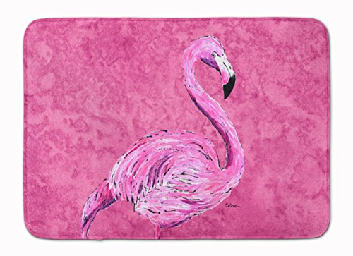 Caroline's Treasures 8875RUG Flamingo on Pink Machine Washable Memory Foam Mat, 19 X 27, Multicolor