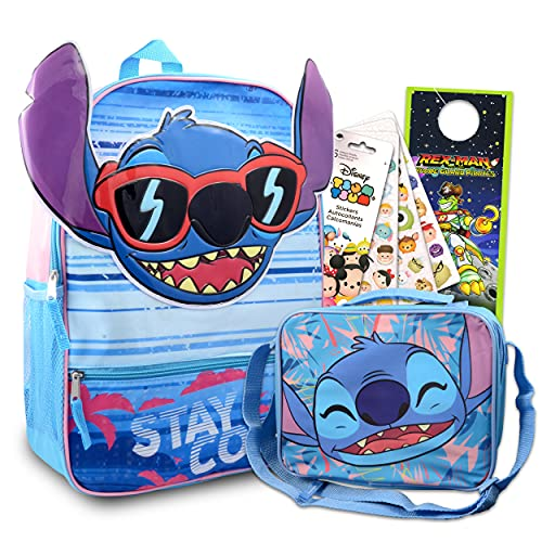 Disney Lilo And Stitch School Backpack and Lunch Bag Bundle - 4 Pc Bundle With 16' Stitch School Bag, Stitch Lunch Box, And More For Boys And Girls | Stitch School Supplies Set