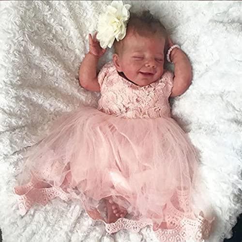 JUYHTY Smile Reborn Baby Dolls 19 Pulgadas Realistas Muñecas Recién Nacidas para Bebés Muñecas De Silicona Suave De La Vida Real con Ropa Regalo para Niños A Partir De 3 Años,Girl