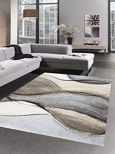 CARPETIA Tapis Moderne Tapis du Salon Karo Brun Beige Größe 120x170 cm