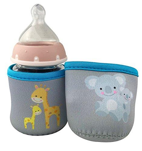 2x Baby Flaschenschutz (klein) - Babyflaschen Schutzhülle - Protection - Motiv: Giraffe & Koala - Baby Flaschenhülle - HECKBO
